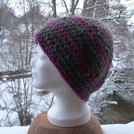 Mütze-grau-lila